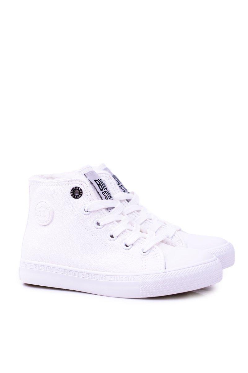 Big Star Dziecięce Wysokie Białe Trampki Sneakersy BB374141