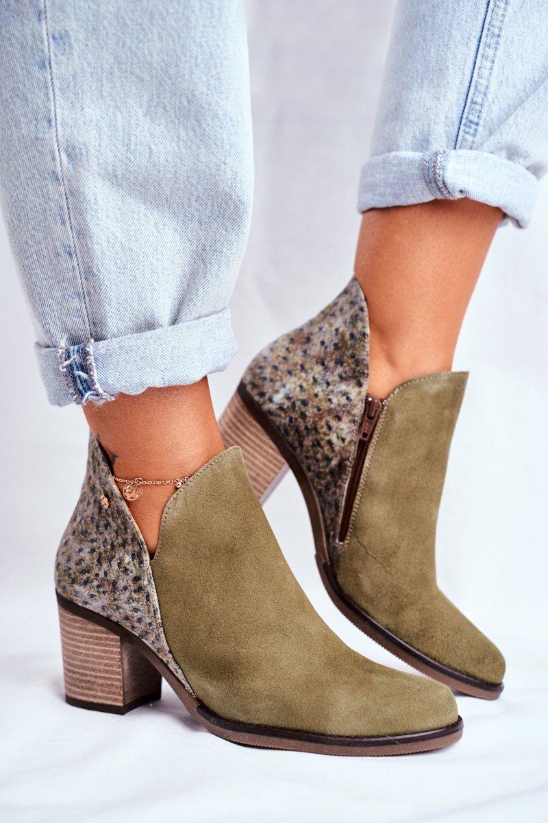 buty damskie na slupku oliwkowe