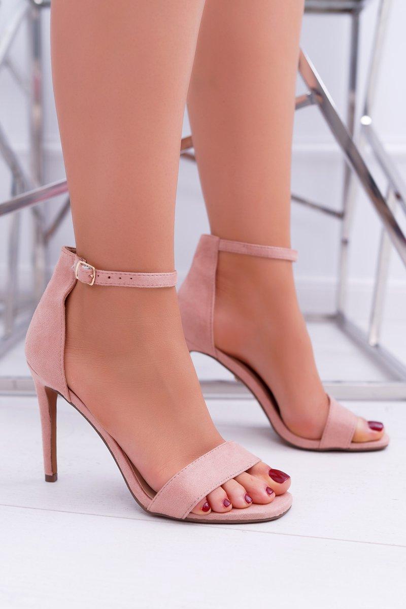 f55263060b52db Różowe Zamszowe Sandały Na Szpilce Simple | Bugo.pl > buty damskie