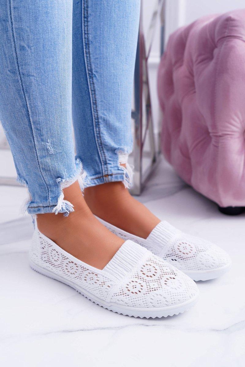 28943e01ad2c8a Damskie Białe Koronkowe Balerinki Sensitive | Bugo.pl > buty damskie