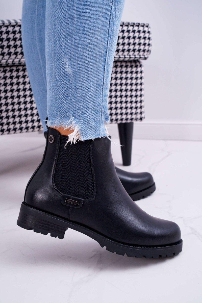 czarne ocieplne botki obcas 5 cm