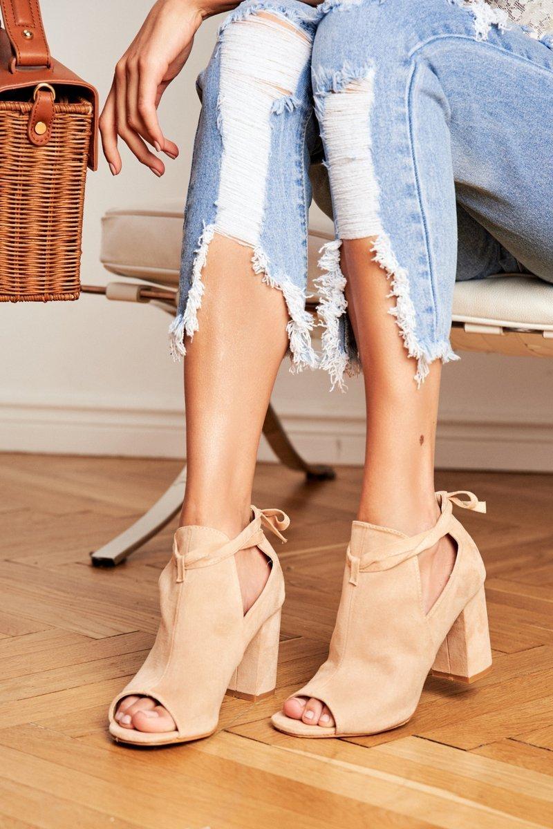 Damskie Botki Sandały Na Słupku Odkryte Palce Beżowe Grays