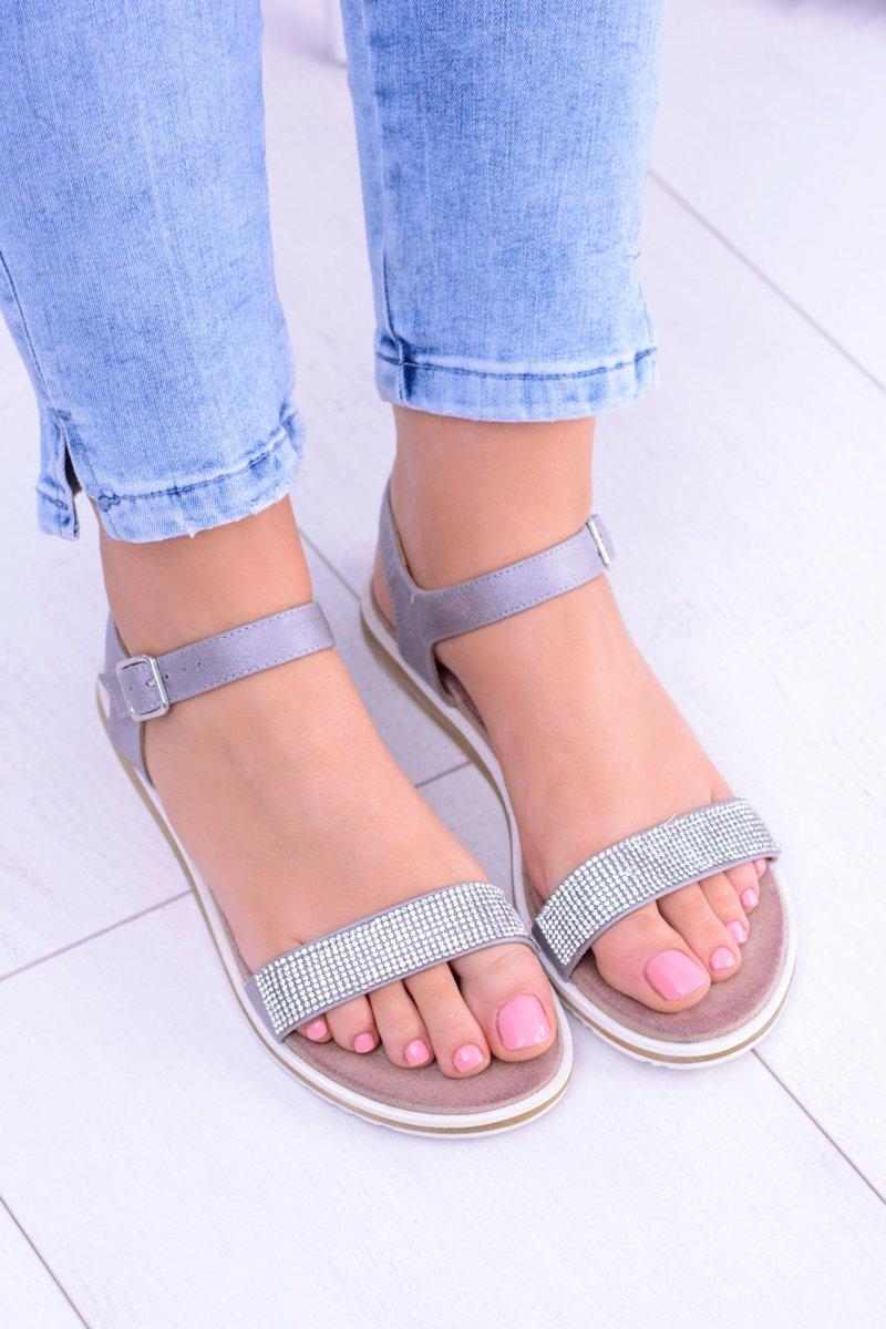damskie sandały rózowo szare płaskie