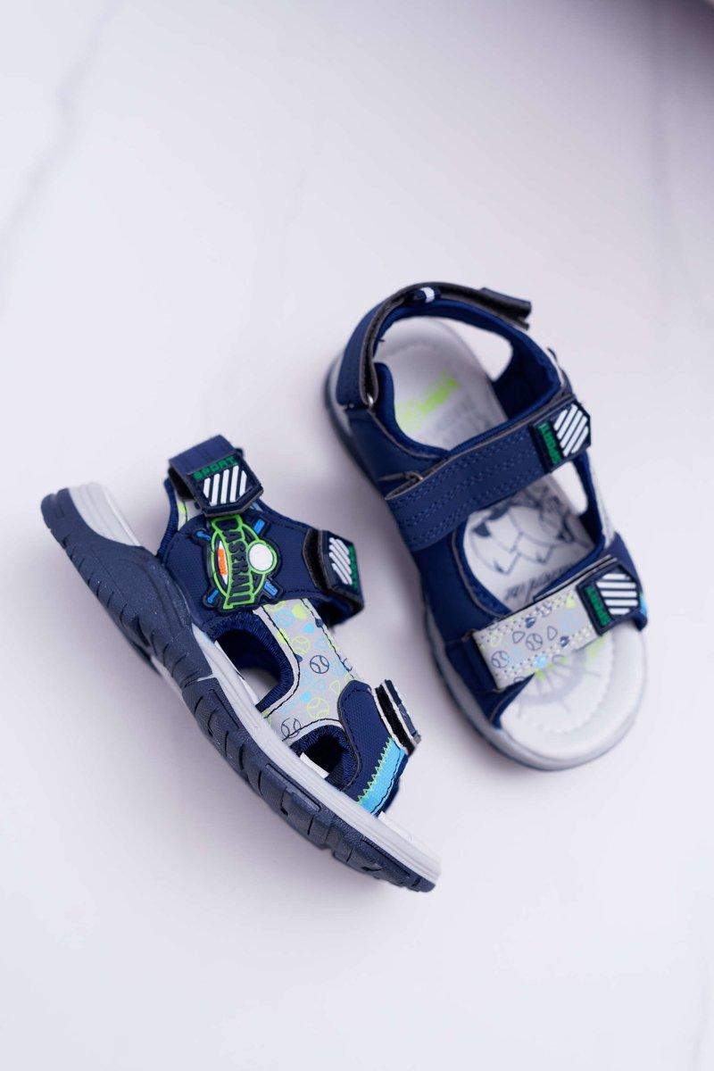 5706198f ... Dziecięce Młodzieżowe Chłopięce Sandały Na Rzepy Granatowe Reksio