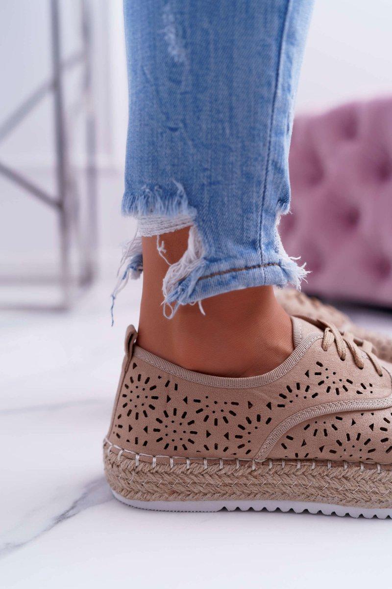 Espadryle Damskie Sznurowane Zamszowe Beżowe MyShoes
