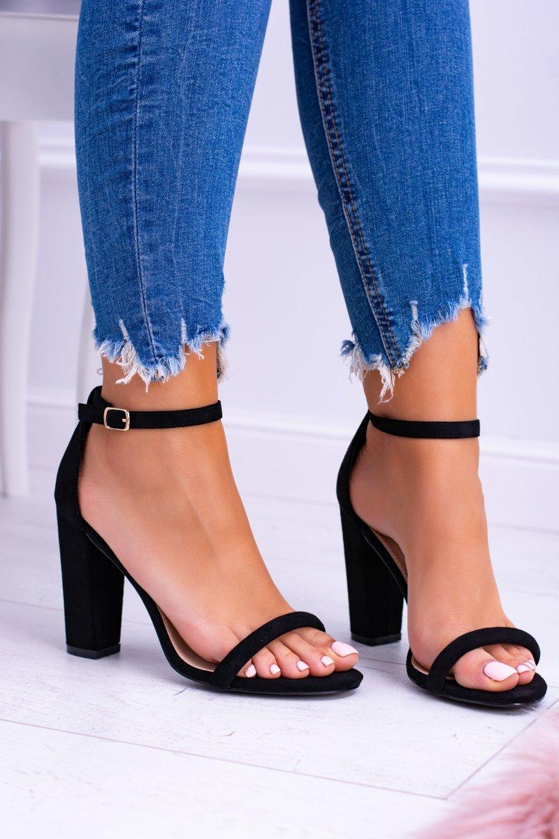 83415df49063b Lu Boo Zamszowe Czarne Sandały Na Słupku Ripley   Bugo.pl > buty damskie