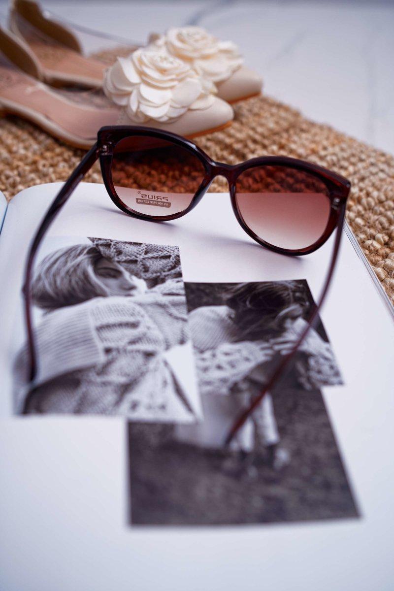 Okulary Przeciwsłoneczne Prius PR V26 Brązowe Złoty Brokat
