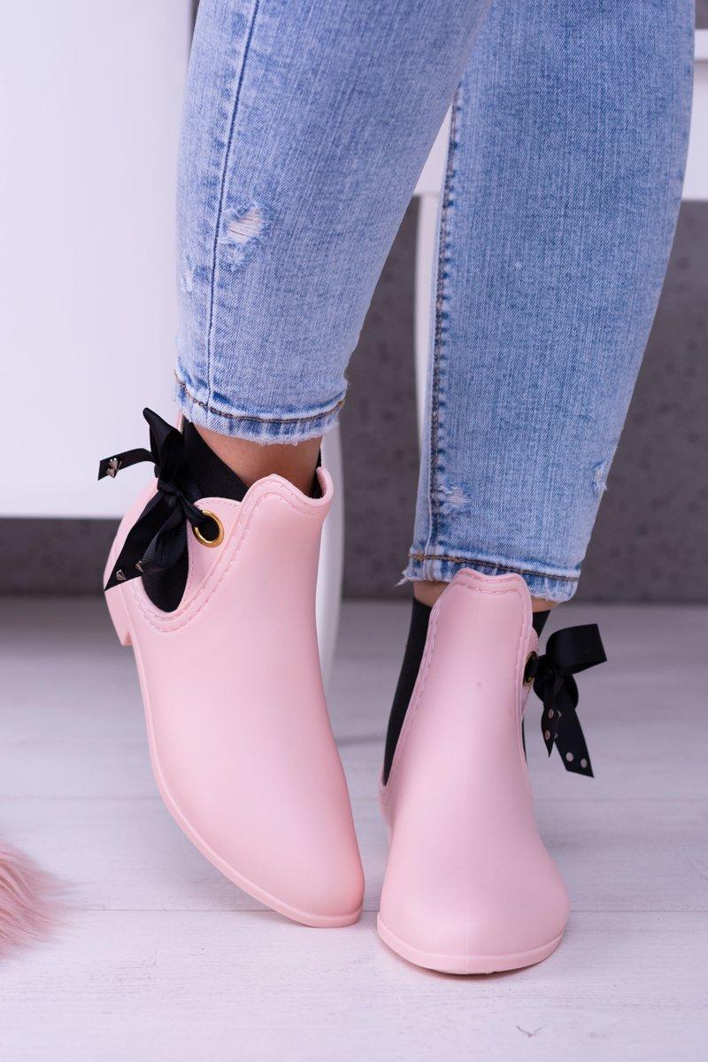a60c2151ab153 Różowe Matowe Damskie Kalosze Sztyblety Someday | Bugo.pl > buty damskie