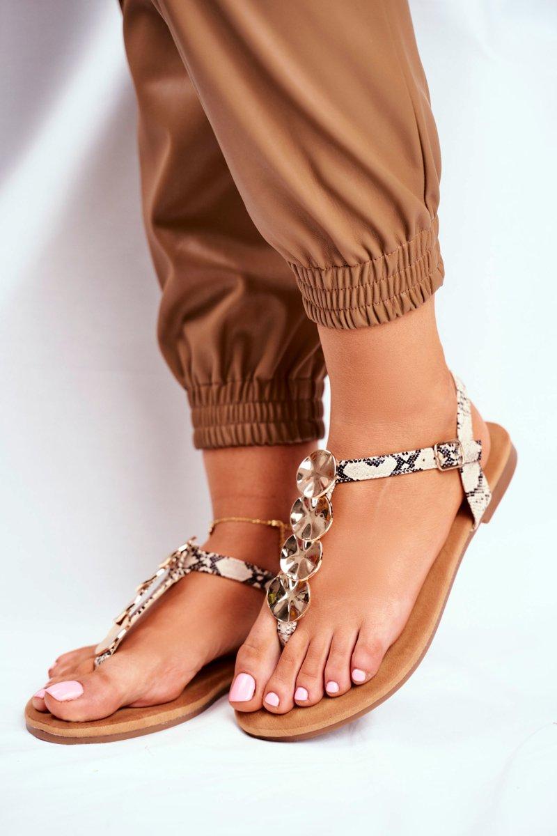 Sandały Damskie Eleganckie Japonki Złote Blaszki Camel