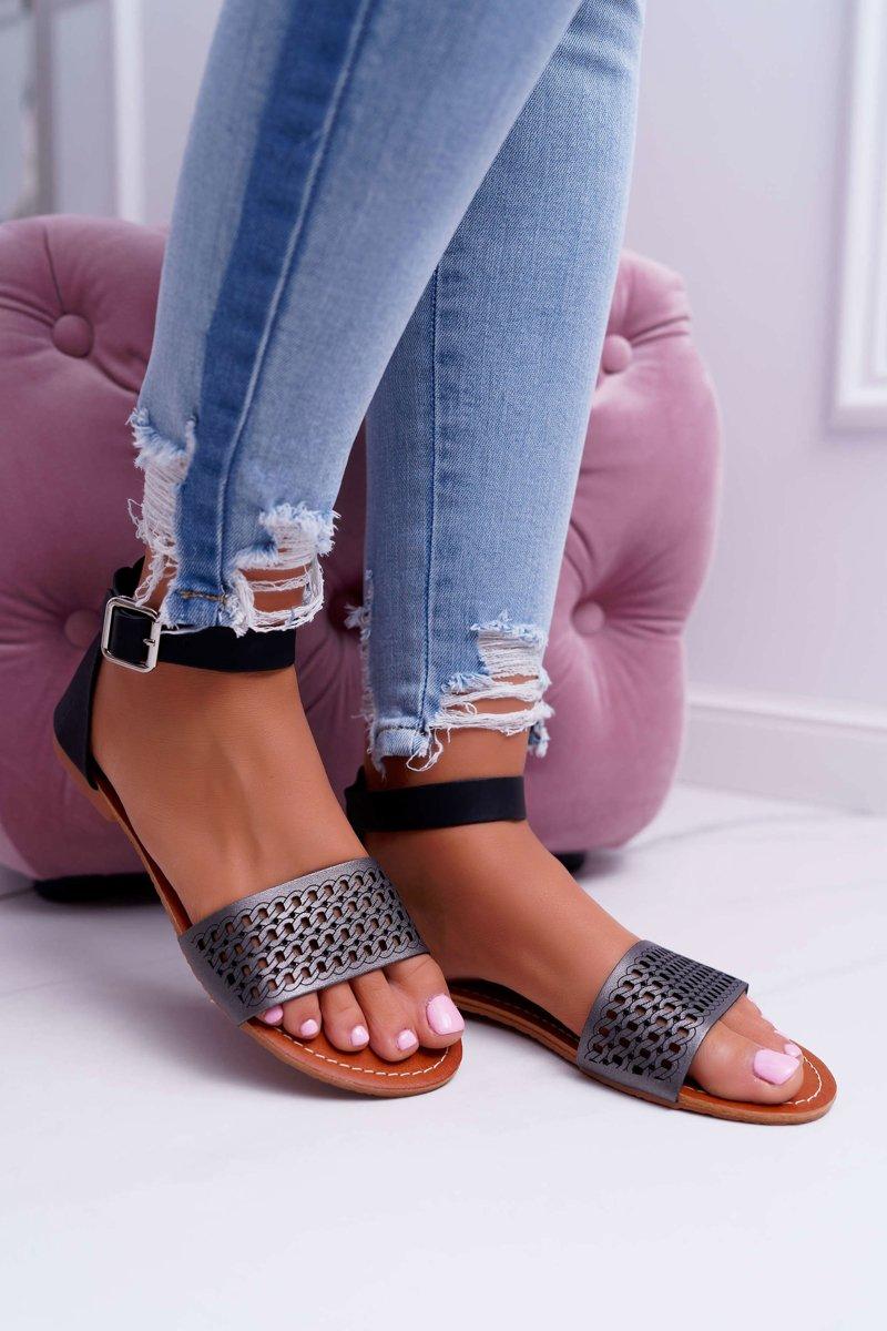 Sandały Damskie Eleganckie Czarne Neanna | Bugo.pl > buty