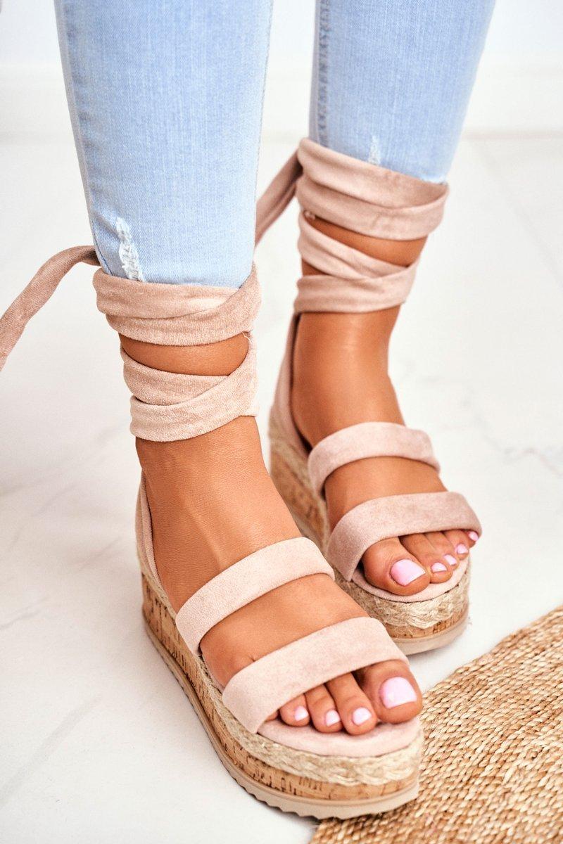 Sandały Damskie Na Platformie Wiązane Beżowe La Favorite