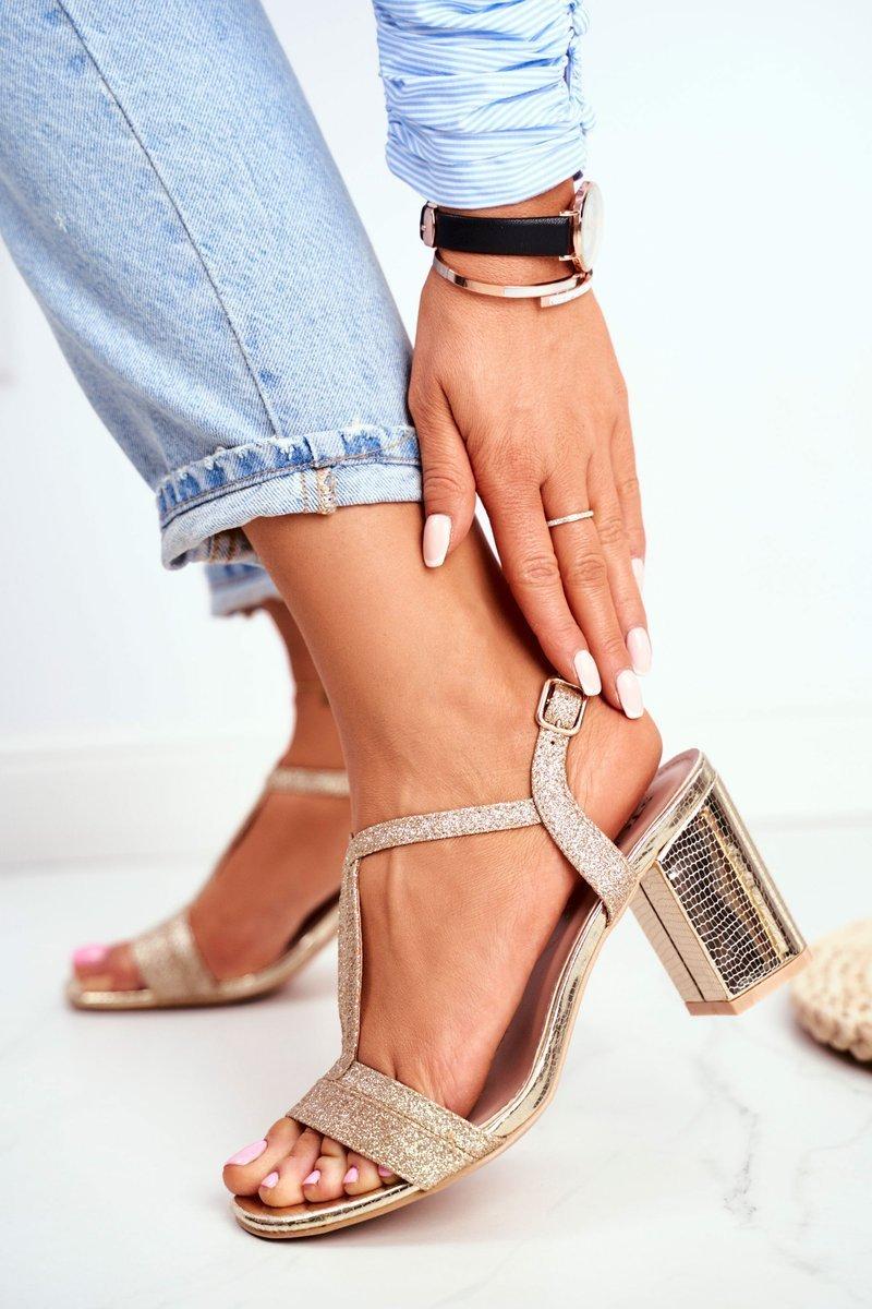 Sandały Damskie Na Słupku Brokatowe Złote Perfecto