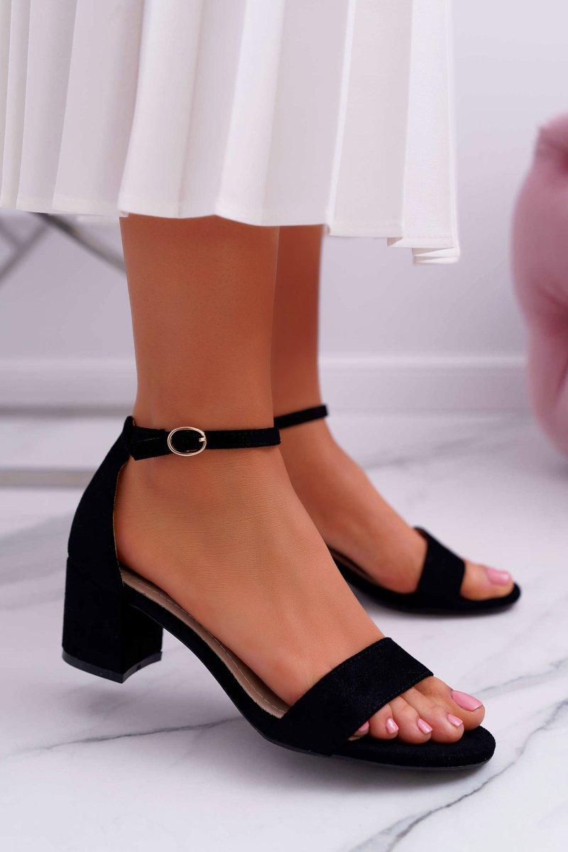 Sandały damskie na słupku czarne S.Barski