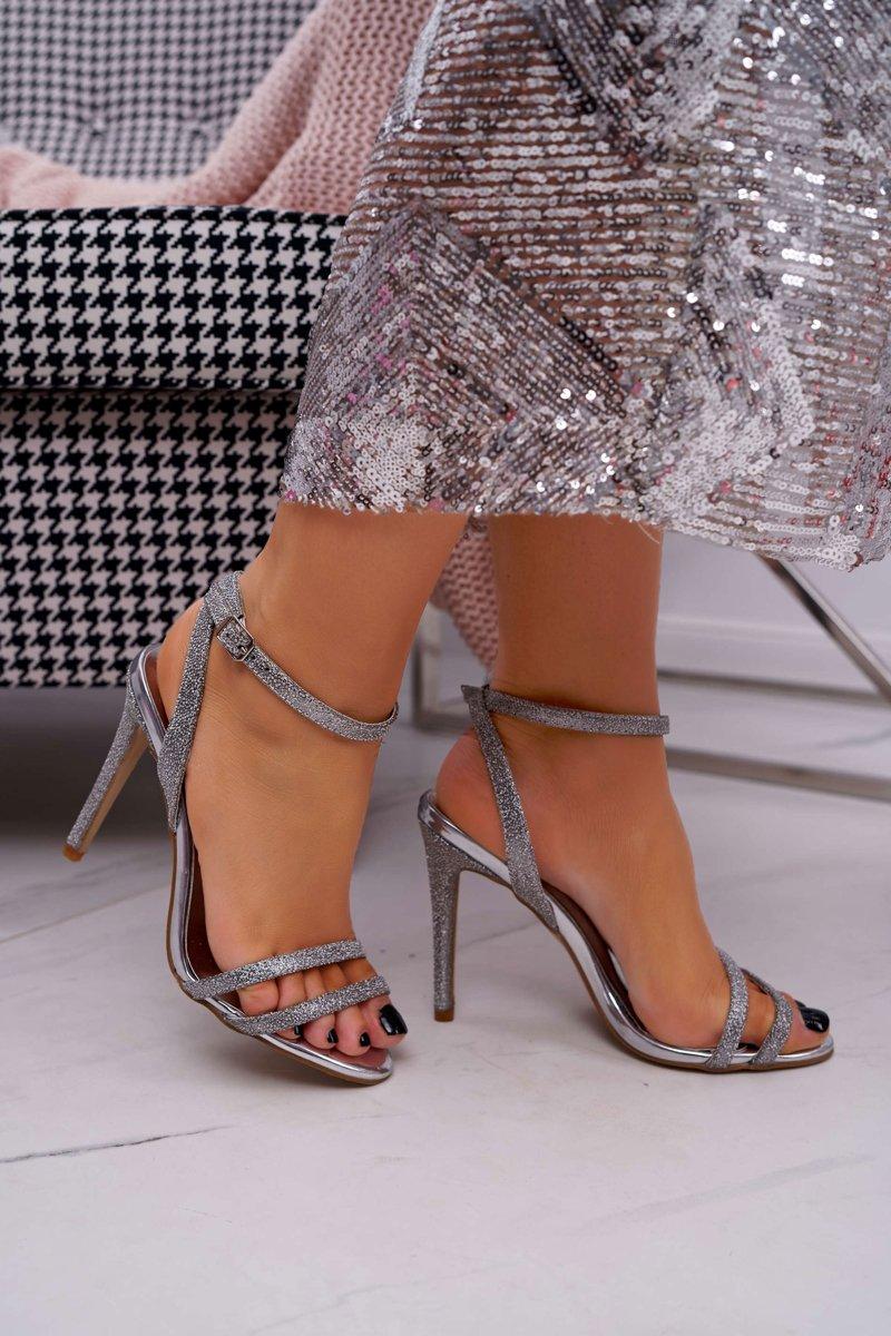 Sandały Damskie Na Szpilce Brokatowe Złote Demmis