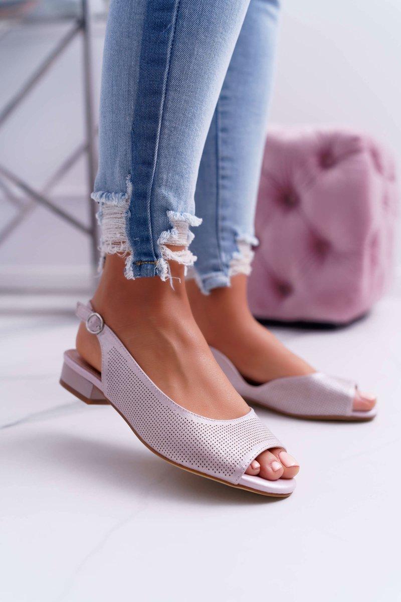 Sandały damskie na płaskim obcasie różowe