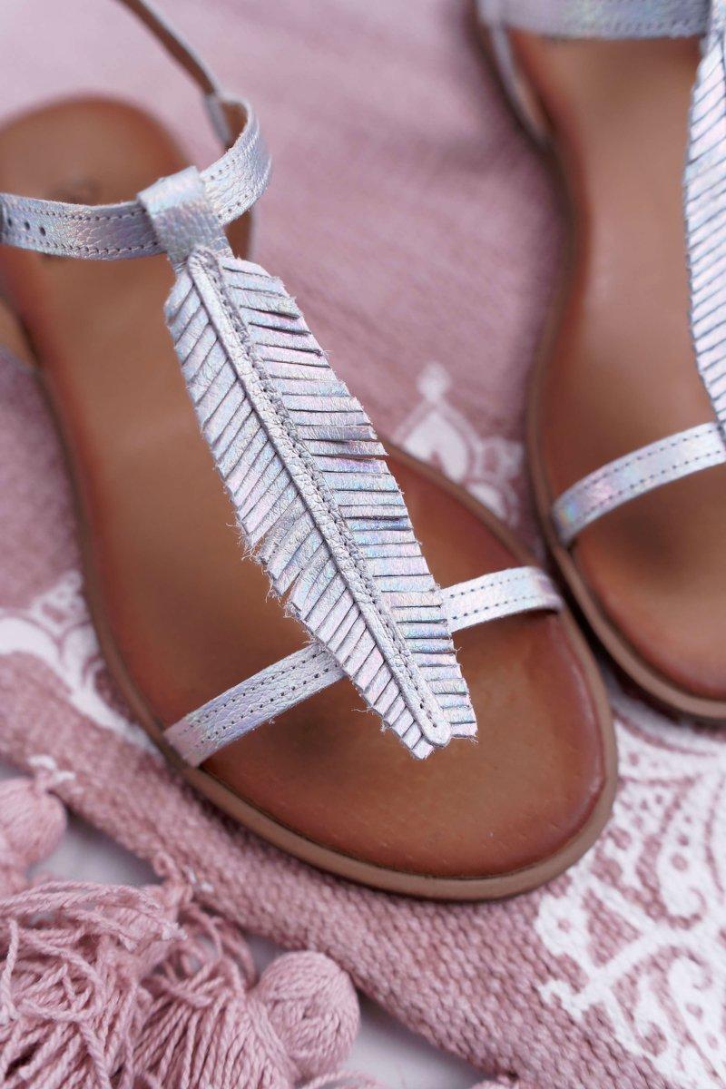 sandały damskie płaskiesrebrne