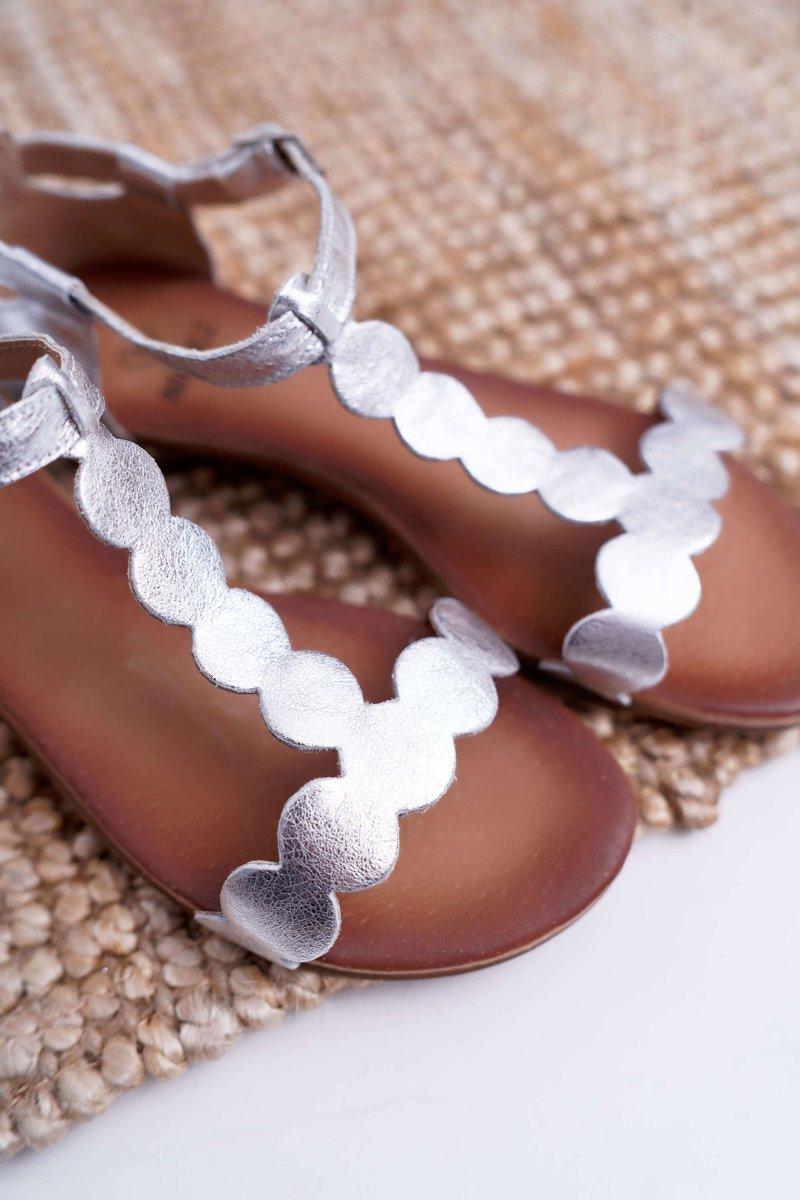 Sandały Damskie Płaskie Skórzane Złote Nicole 2403 Melbourne