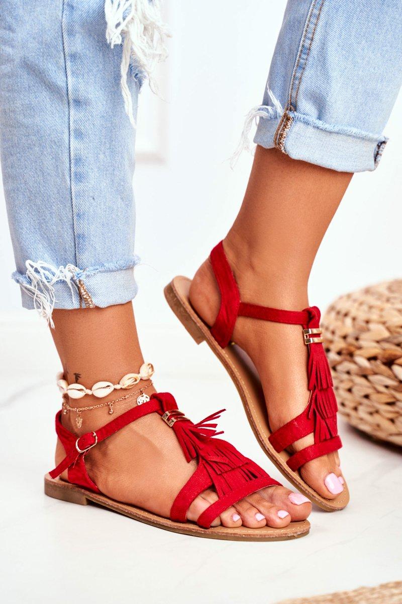 Sandały Damskie Płaskie Zamszowe Boho Czerwone Lucami