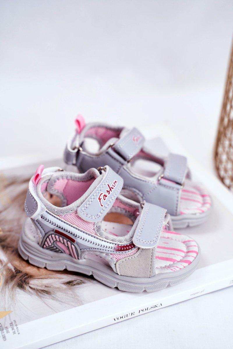 Sandały Dziecięce na Rzepy Beżowe Grobino | Bugo.pl > buty