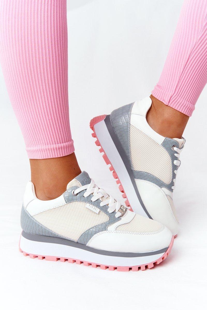 Skorzane Sportowe Buty Na Platformie Goe Hh2n4008 Biale Bugo Pl Buty Damskie