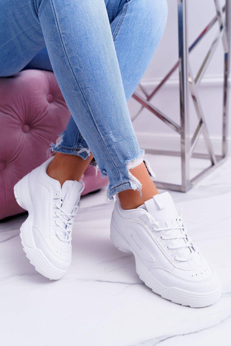 Sportowe Damskie Białe Buty Faqundo | Bugo.pl > buty damskie