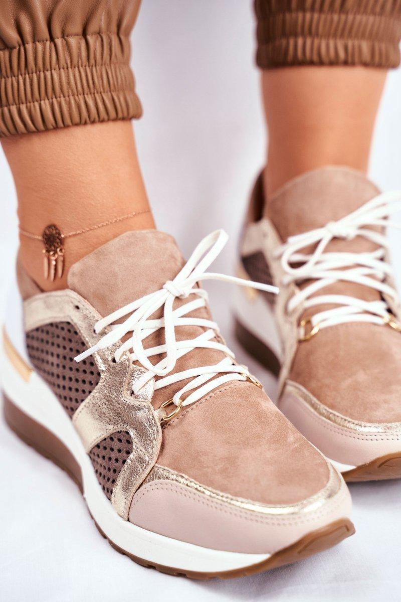 Sportowe Damskie Buty Skórzane Sneakersy Nicole Beżowe 2562