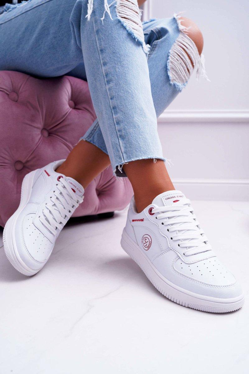 Damskie Trampki Cross Jeans Białe DD2R4030   Bugo.pl > buty