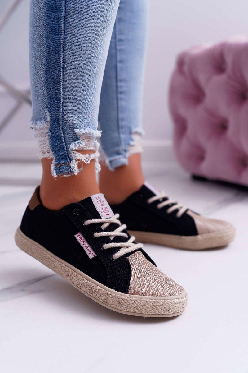Trampki Damskie Cross Jeans Czarne DD2R4093   Bugo.pl > buty