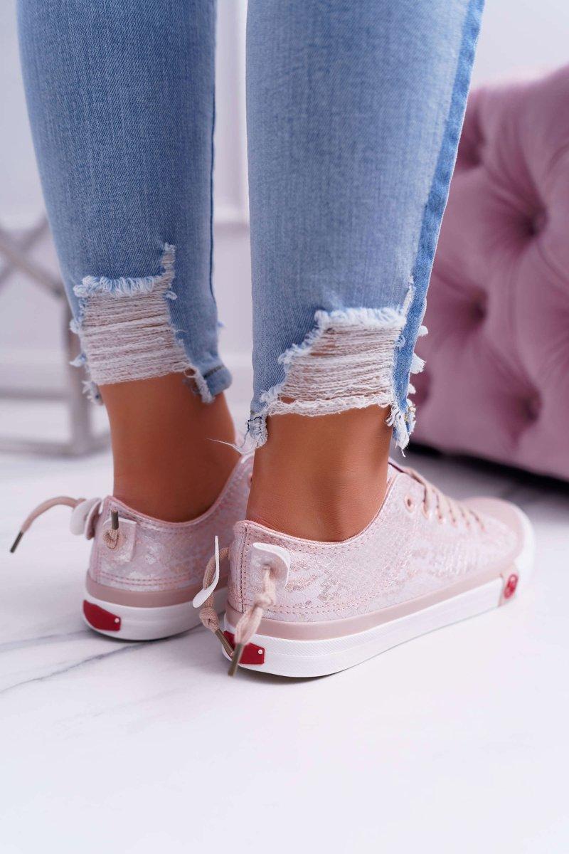Trampki Damskie Cross Jeans Różowe DD2R4058 | Bugo.pl > buty