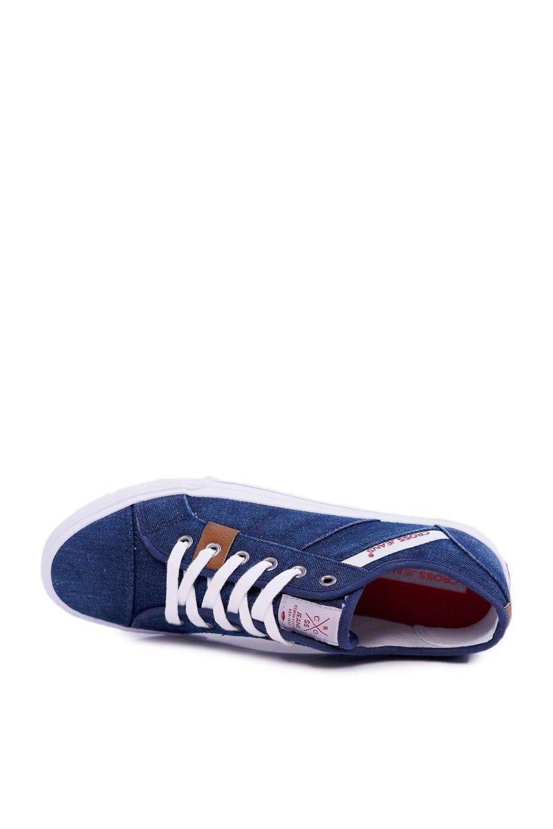 Trampki Męskie Cross Jeans Klasyczne Jeans Granatowe