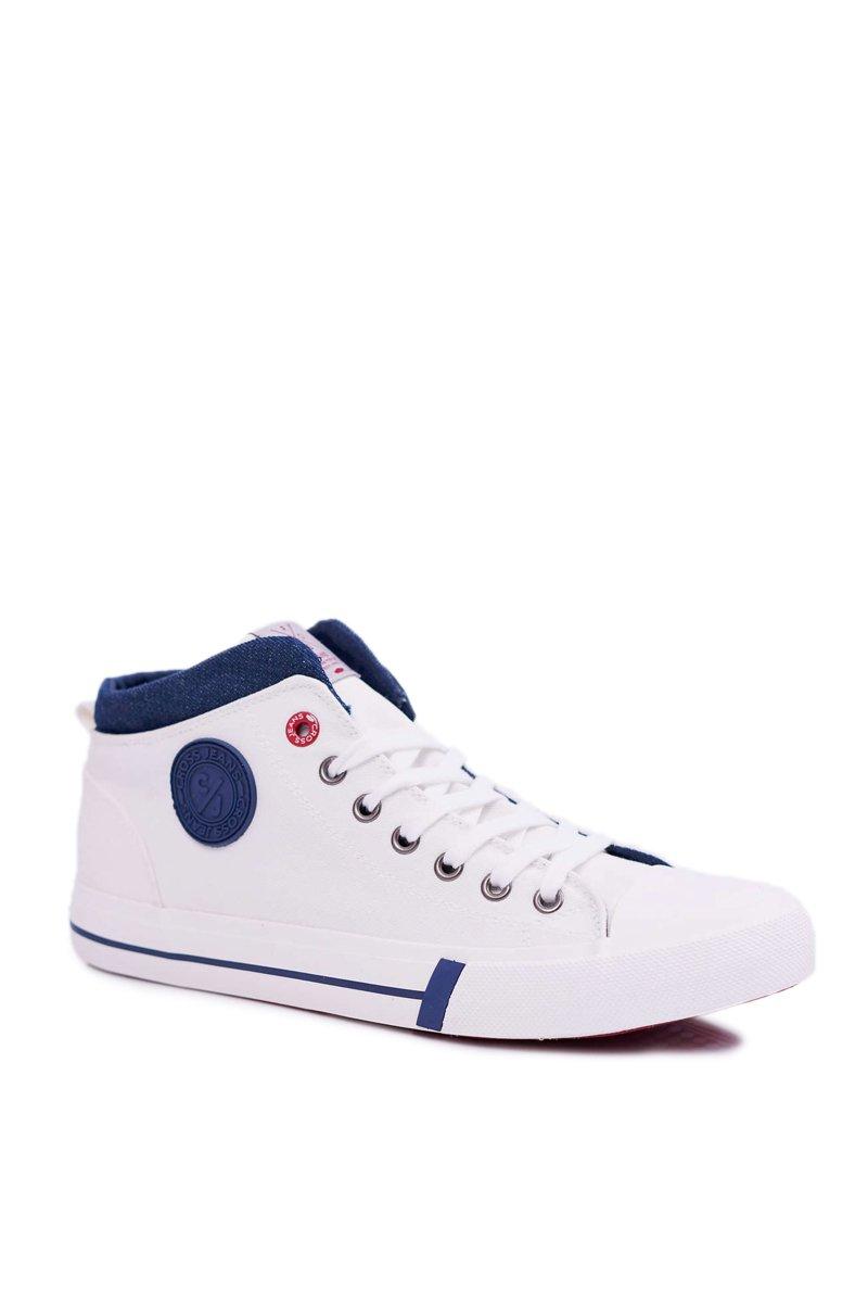 Trampki Męskie Cross Jeans Wysokie Materiałowe Białe