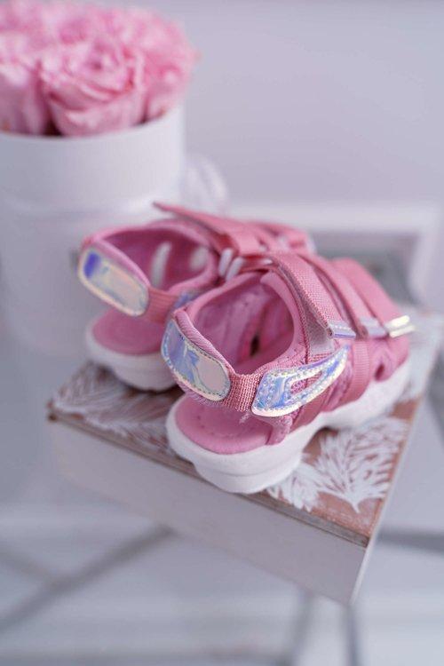 Dziecięce Sandały Na Rzepy Dla Dziewczynki Różowe Kimmi