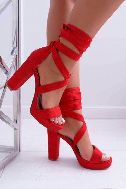 Sandały Damskie Na Słupku Platforma Wiązane Czerwone LaFiesta